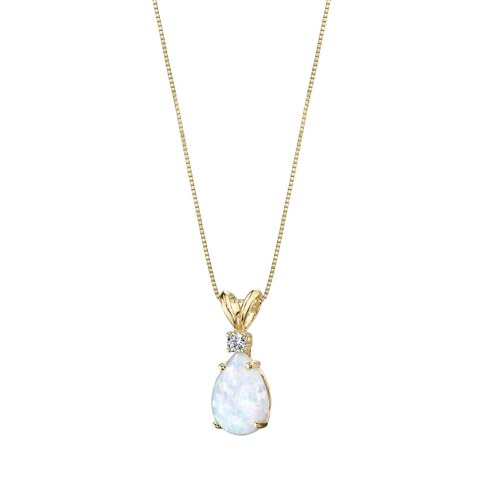 OPAL & DIAMOND 9CT GOLD PENDANT NECKLACE WITH GOLD PLATED SILVER CHAIN
