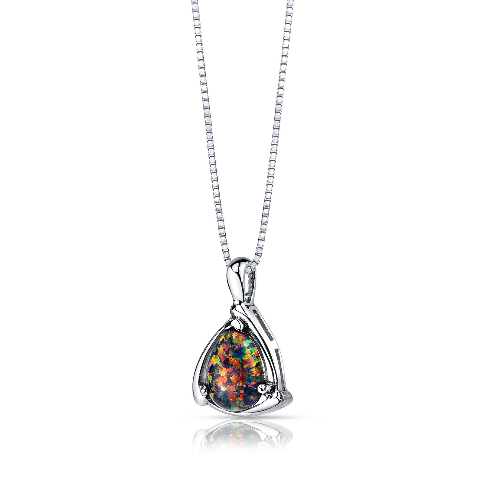 OPAL EQUERRE PENDANT NECKLACE IN STERLING SILVER
