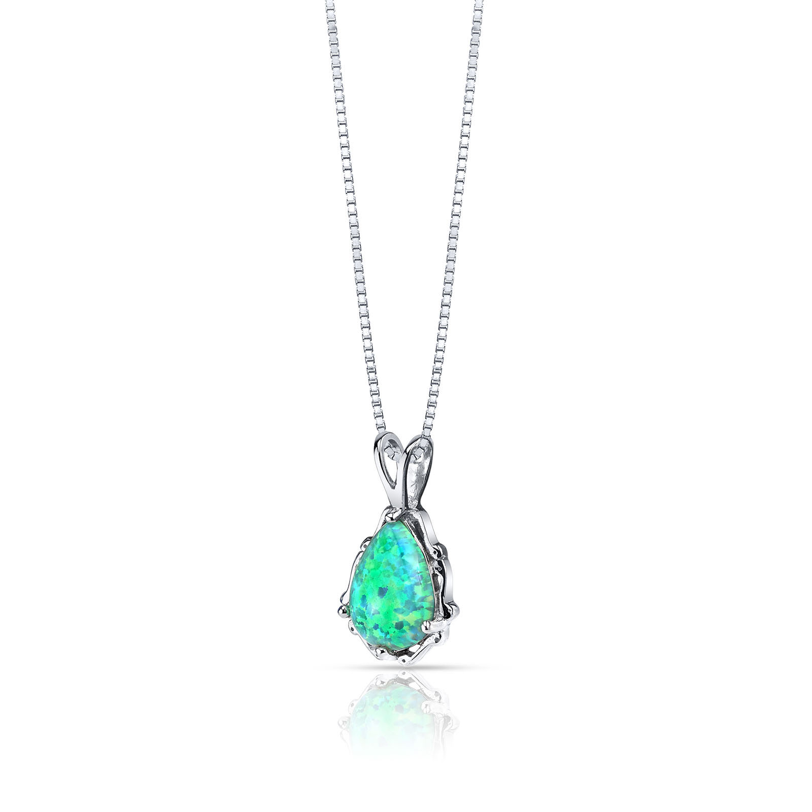 OPAL GREEN STALA PENDANT NECKLACE IN STERLING SILVER