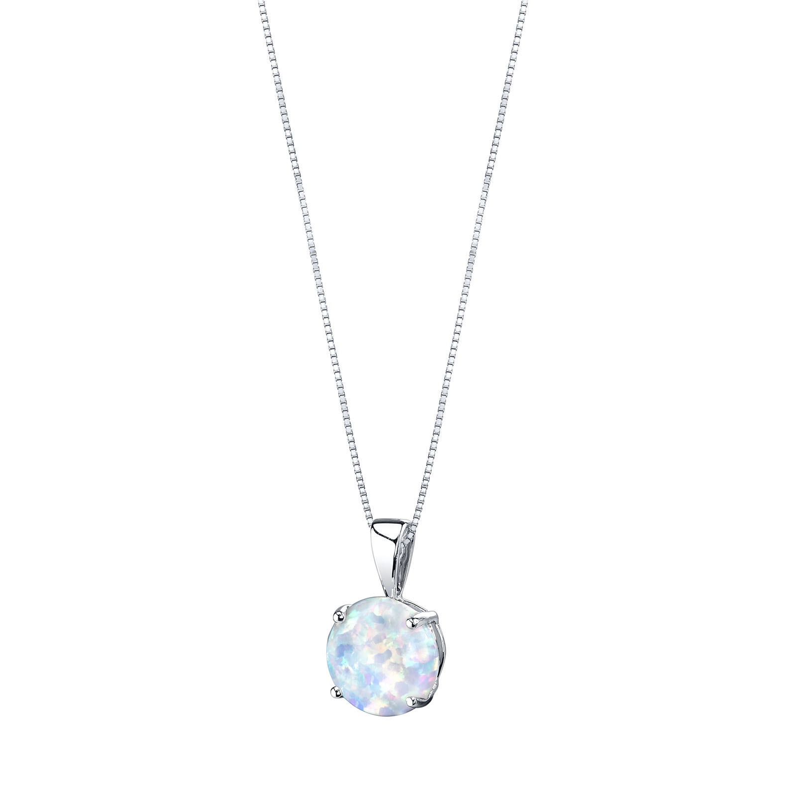 OPAL 9CT WHITE GOLD PENDANT NECKLACE WITH SILVER CHAIN