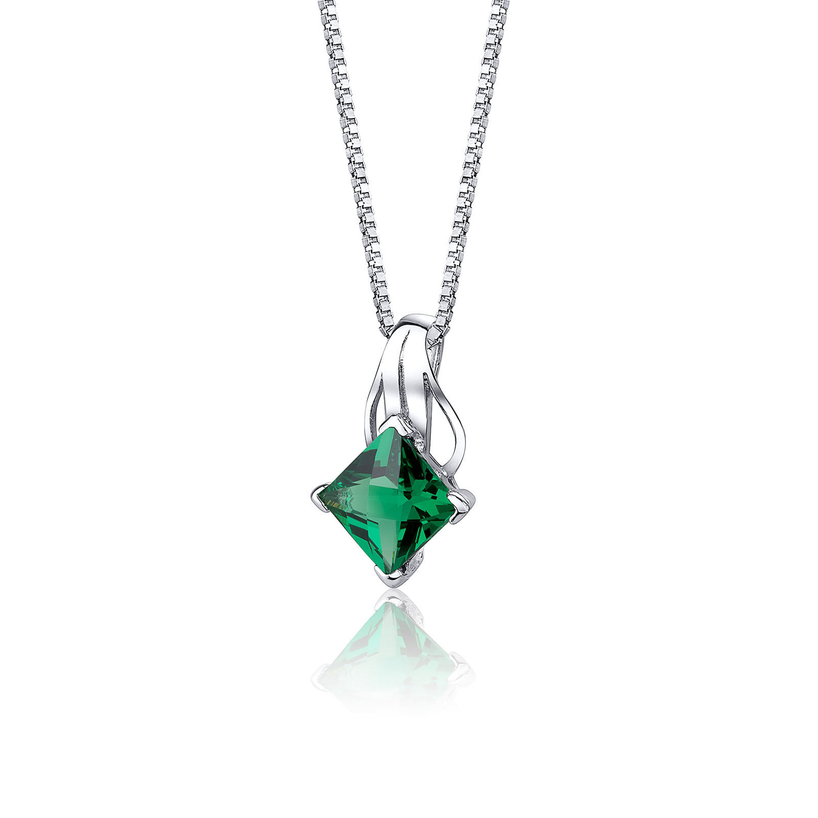 Princess Cut Emerald Pendant Necklace in Sterling Silver