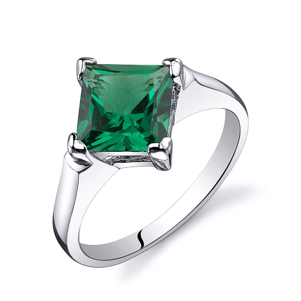 Princess Cut Emerald Striking Engagement Ring in Sterling Silver