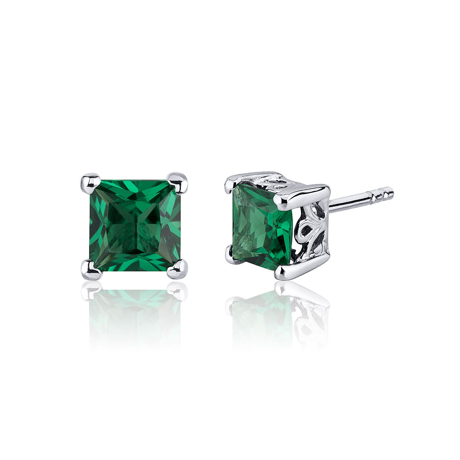 Princess Cut Emerald Stud Earrings in Sterling Silver