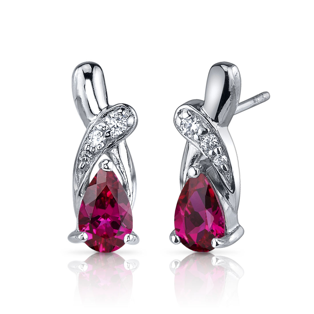 Ruby & CZ Accent Earrings in Sterling Silver
