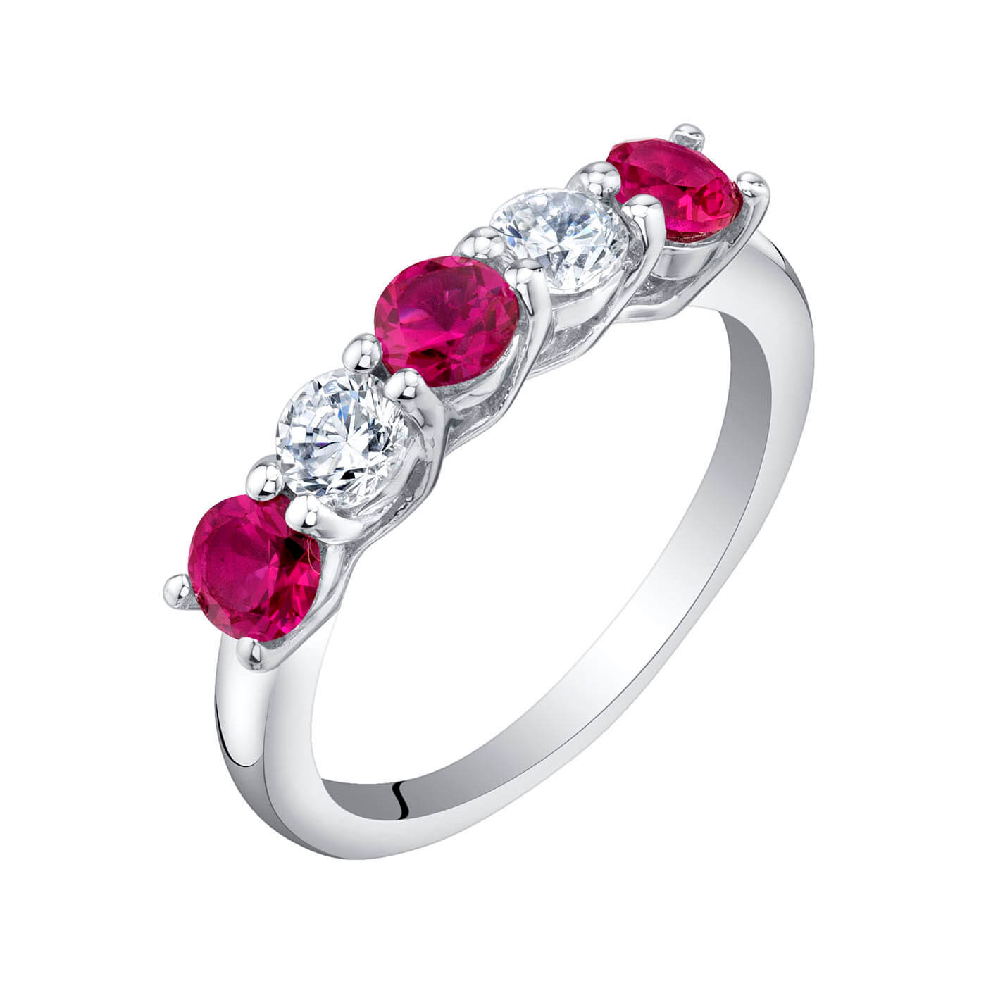 Ruby Five Stone Wedding Ring in Sterling Silver
