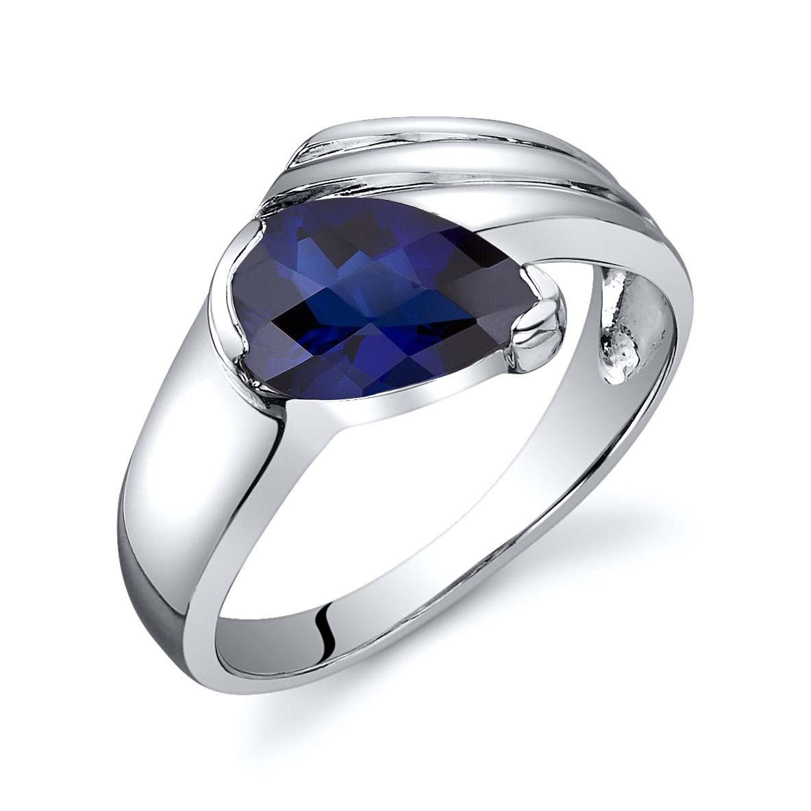 Sapphire Engagement Ring in Sterling Silver