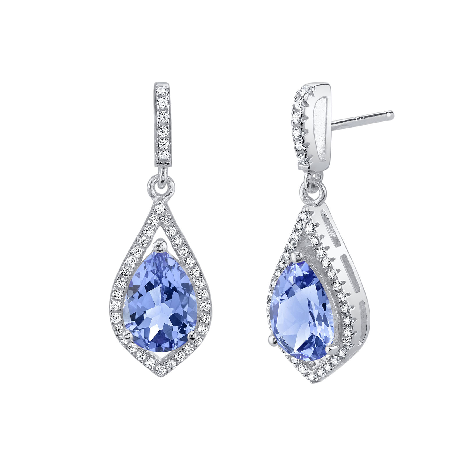 Tanzanite & CZ Drop Earrings in Sterling Silver