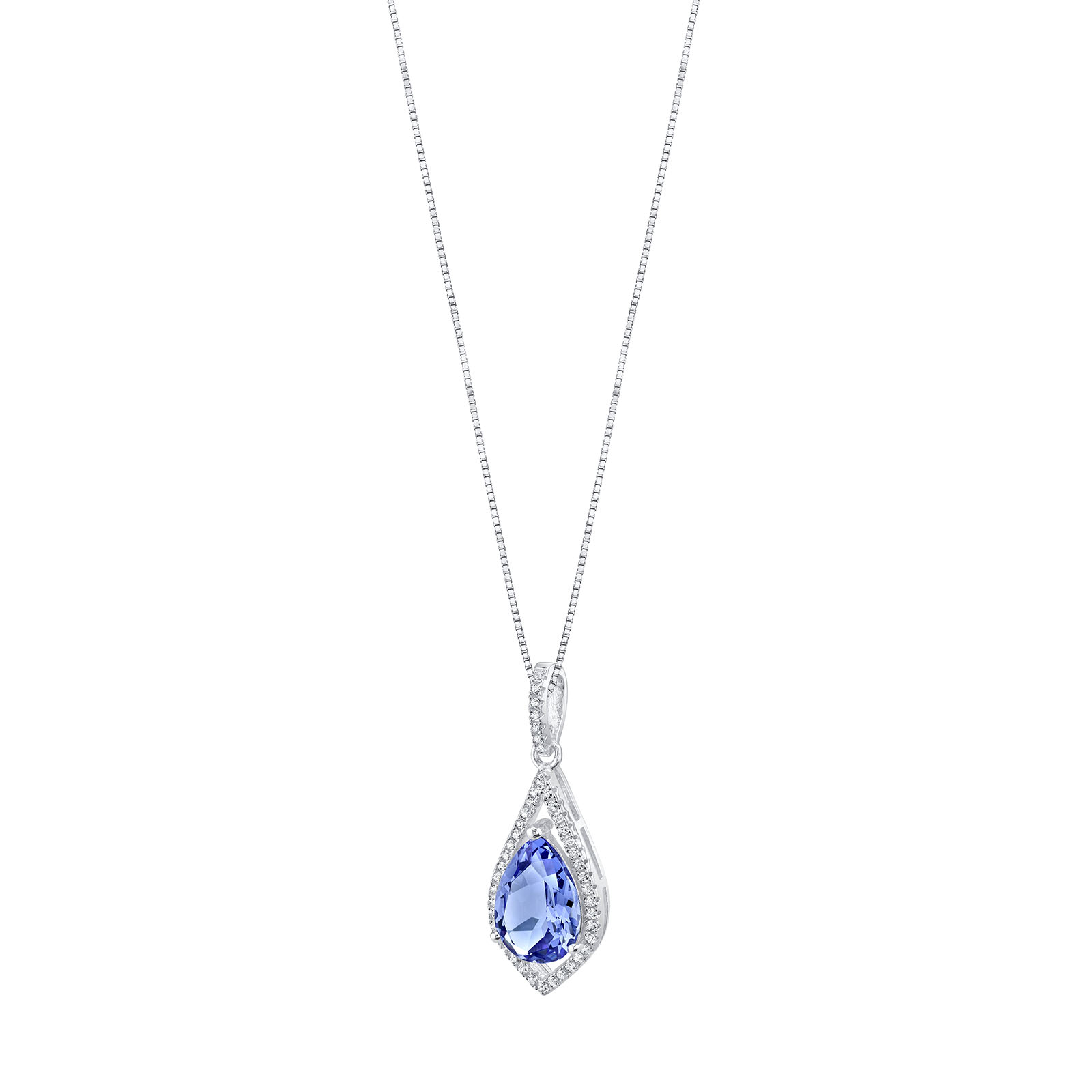 Tanzanite & CZ Regal Pendant Necklace in Sterling Silver