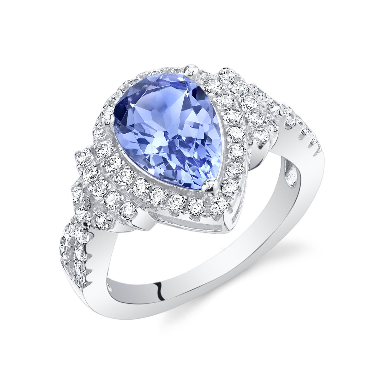 Tanzanite & CZ Teardrop Halo Ring in Sterling Silver
