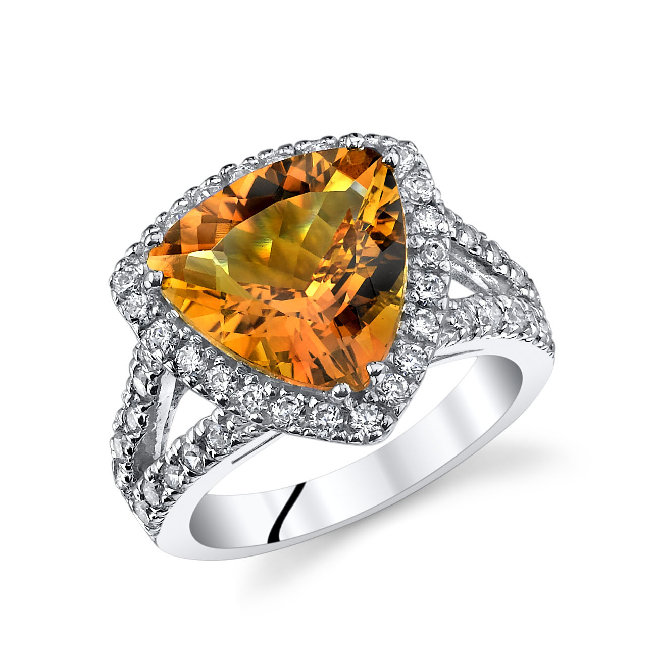 Trillion Cut Citrine Cz Tail Ring