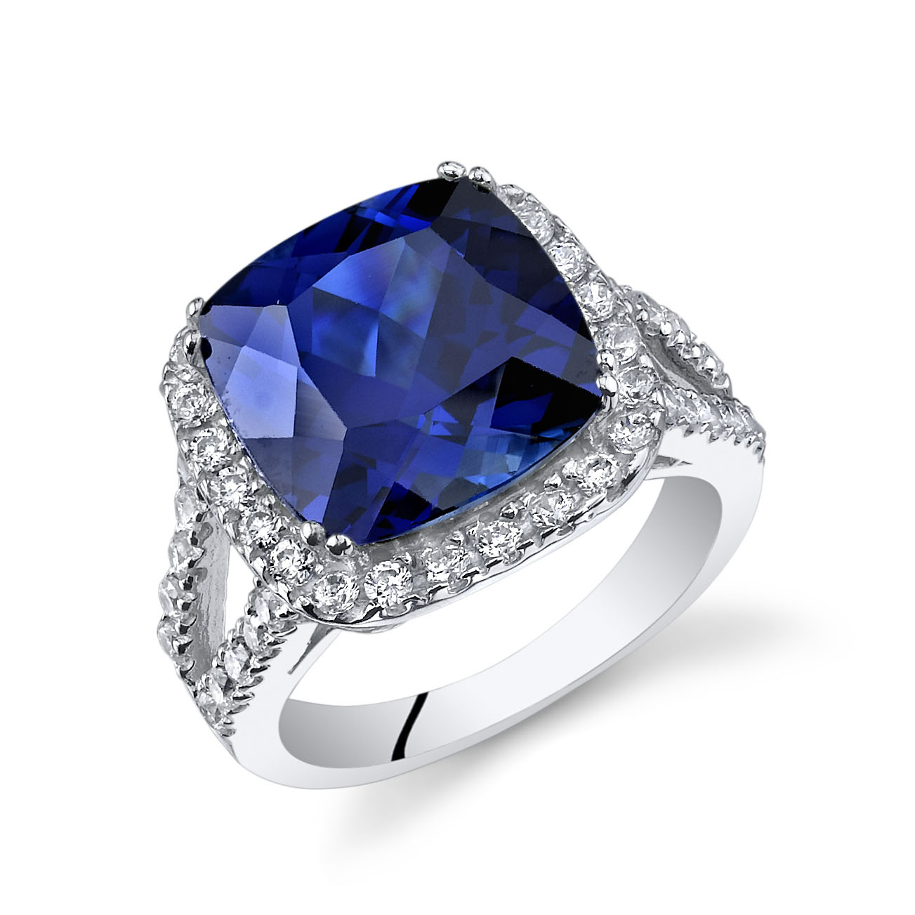 Cushion Cut Sapphire & CZ Ring in Sterling Silver