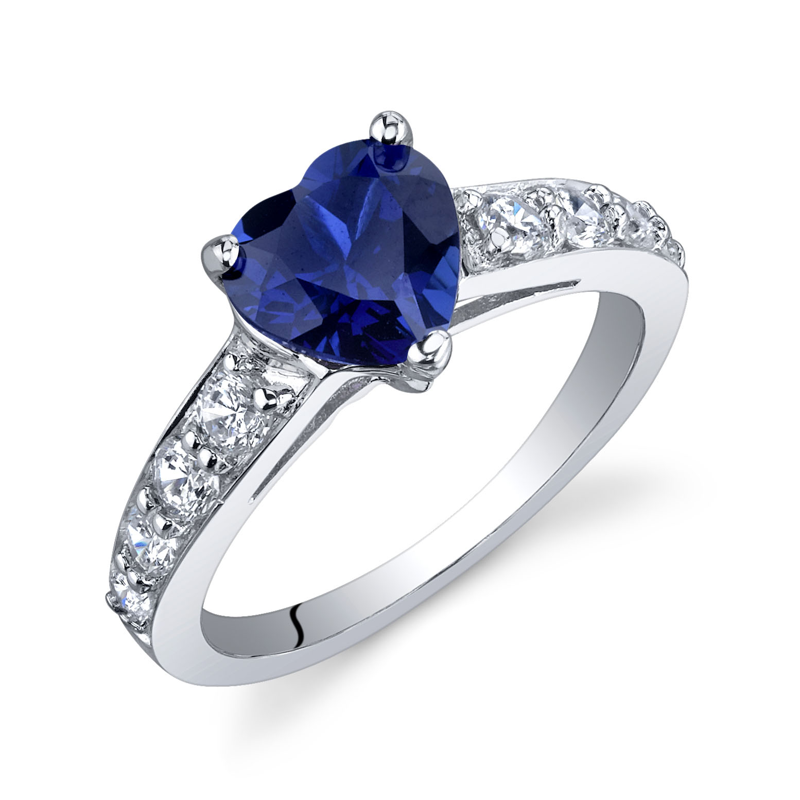 Heart Shaped Sapphire & CZ Dazzling Love Engagement Ring in Sterling Silver