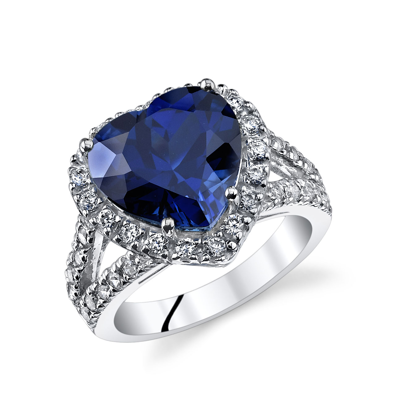 Heart Shaped Sapphire & CZ Ring in Sterling Silver