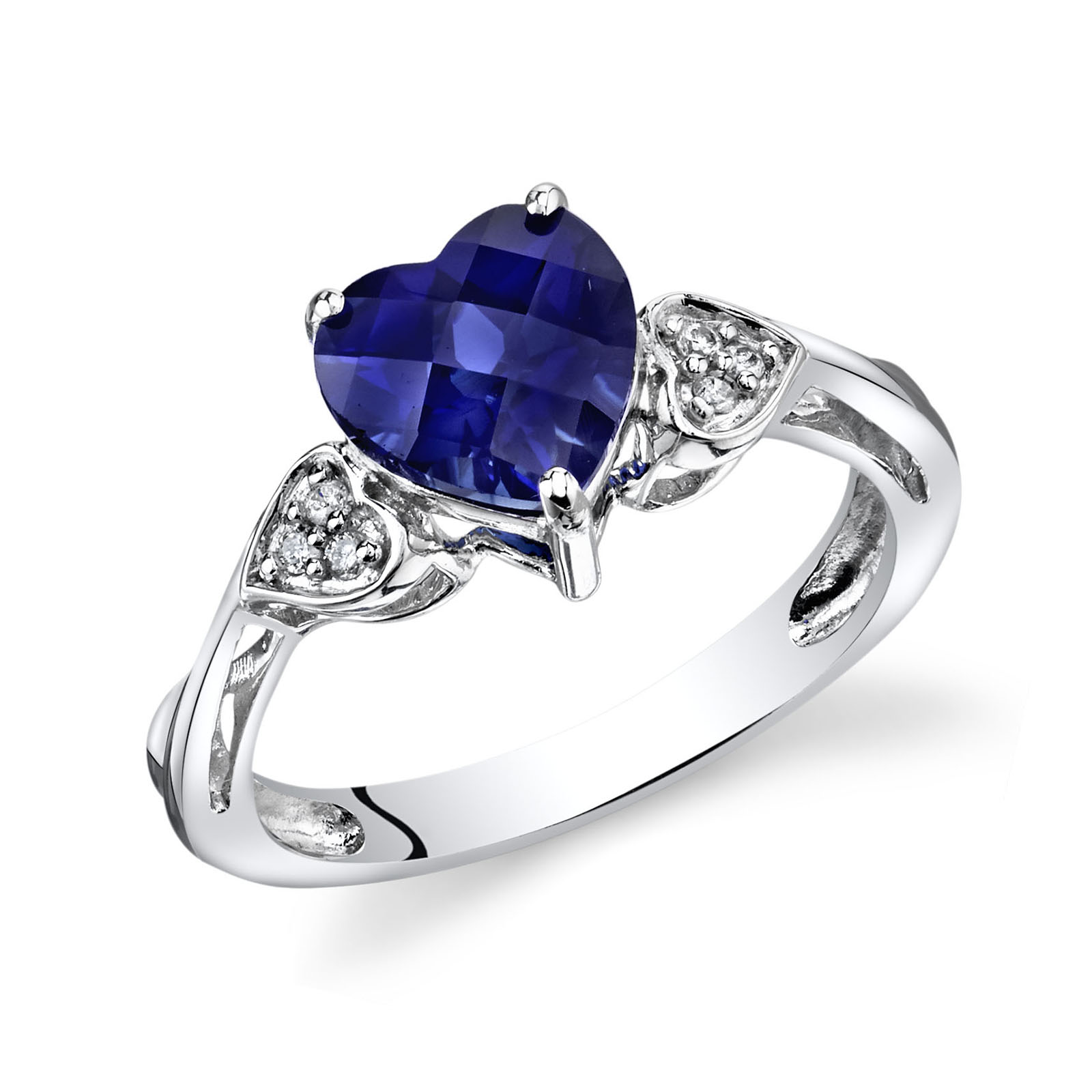 Heart Shaped Sapphire & Diamond Classic Style Ring in 9ct White Gold