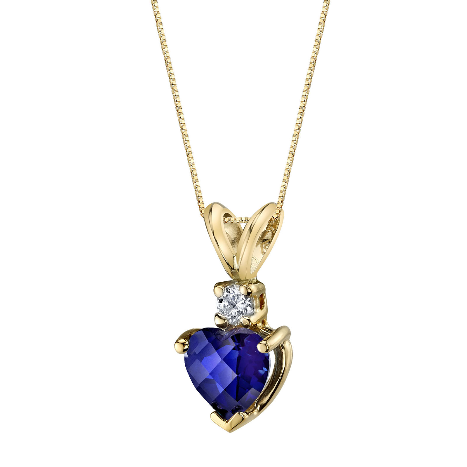 Heart Shaped Sapphire & Diamond 9ct Gold Pendant Necklace with Gold Plated Silver Chain