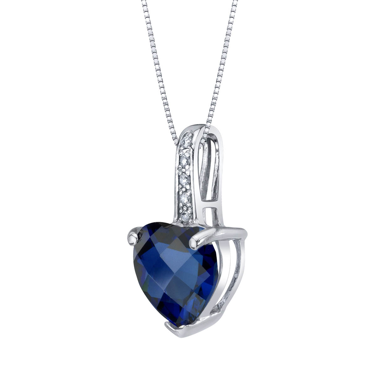 Heart Shaped Sapphire & Diamond 9ct White Gold Pendant Necklace with Silver Chain