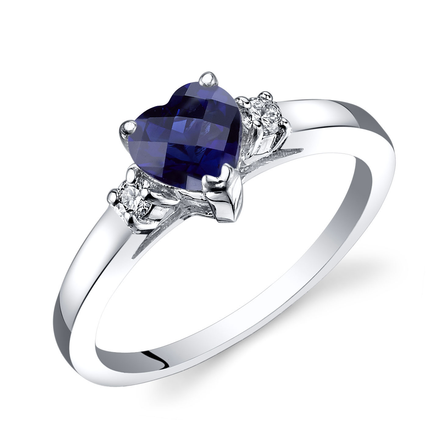 Heart Shaped Sapphire & Diamond Ring in 9ct White Gold