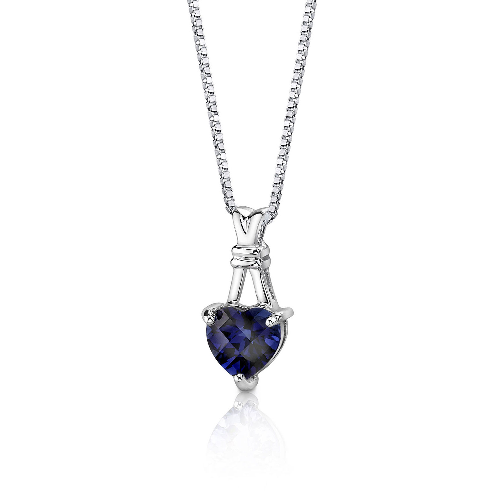 Heart Shaped Sapphire Pendant Necklace in Sterling Silver