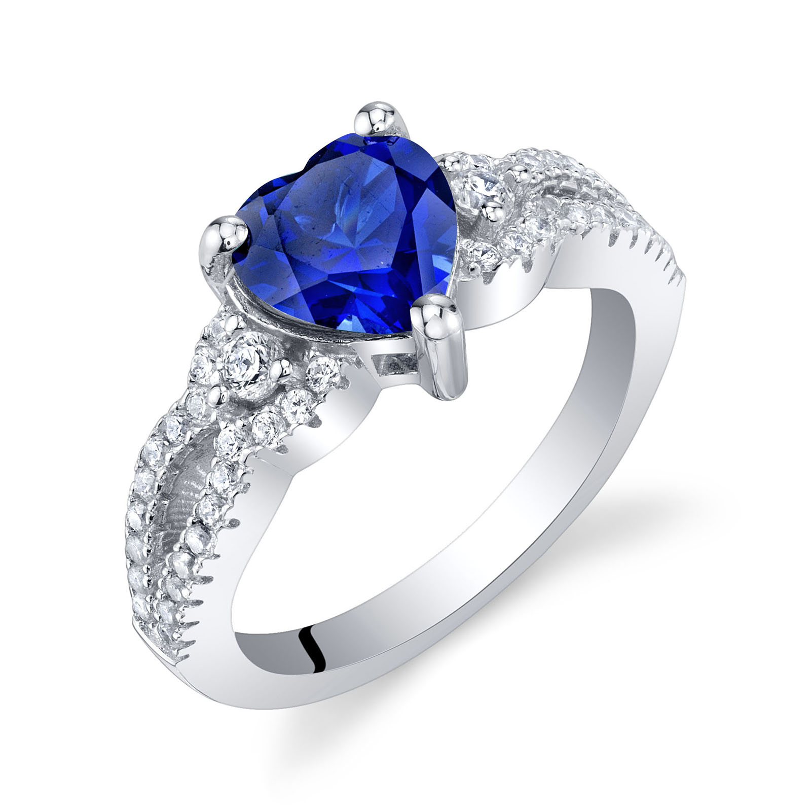 Heart Shaped Sapphire Soulmate Ring in Sterling Silver