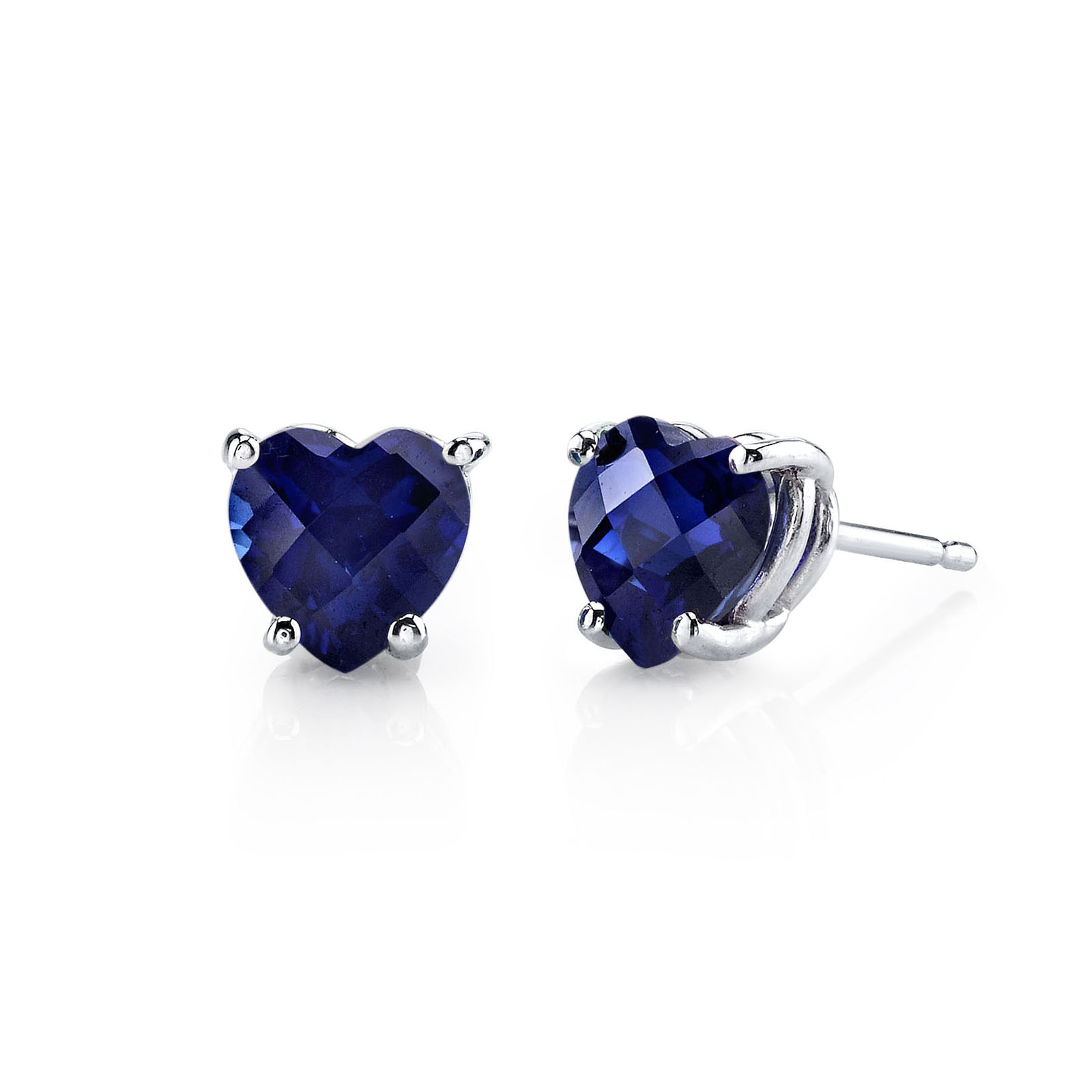 Heart Shaped Sapphire Stud Earrings in 9ct White Gold