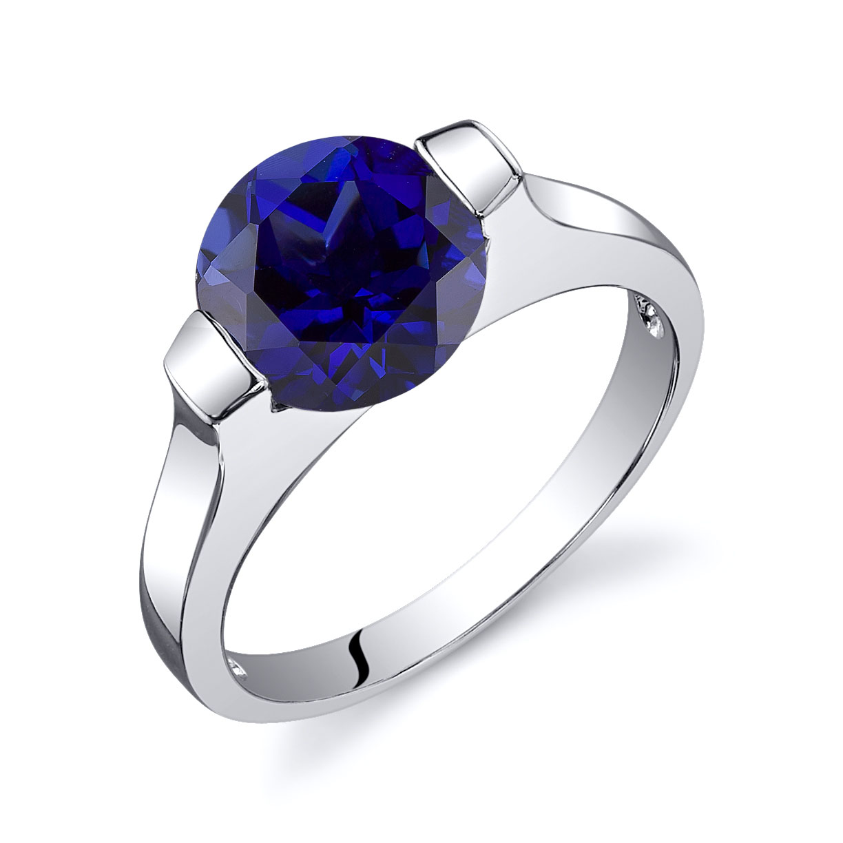 Sapphire Bezel Engagement Ring in Sterling Silver