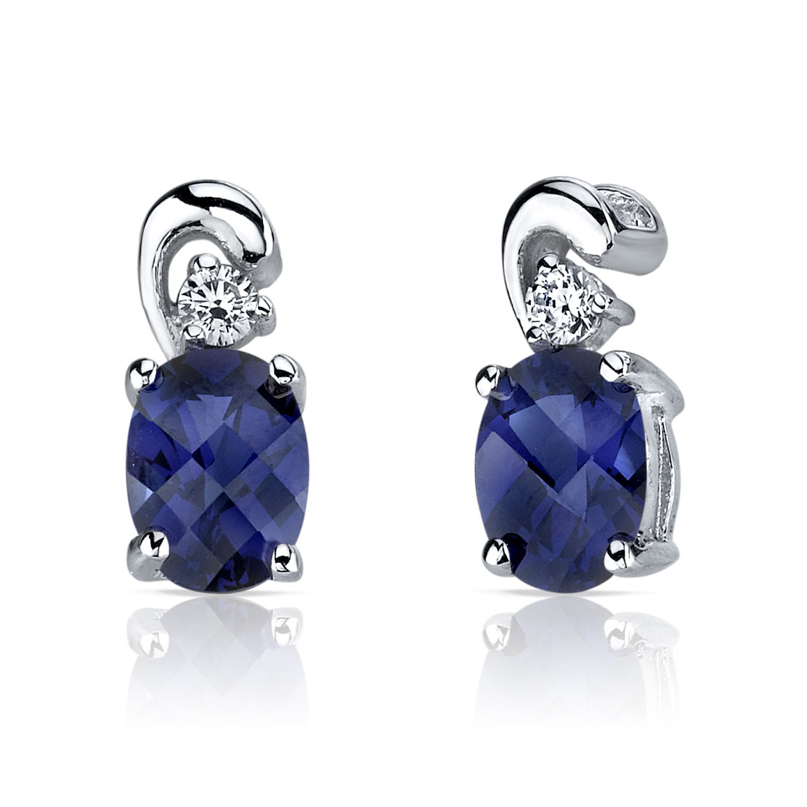 Sapphire & CZ Accent Stud Earrings in Sterling Silver