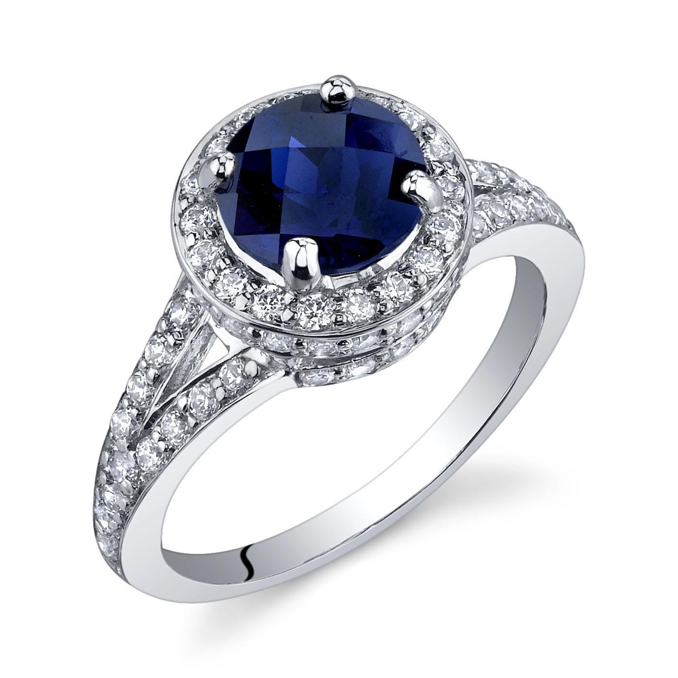 Sappihre & CZ Halo Engagement Ring in Sterling Silver