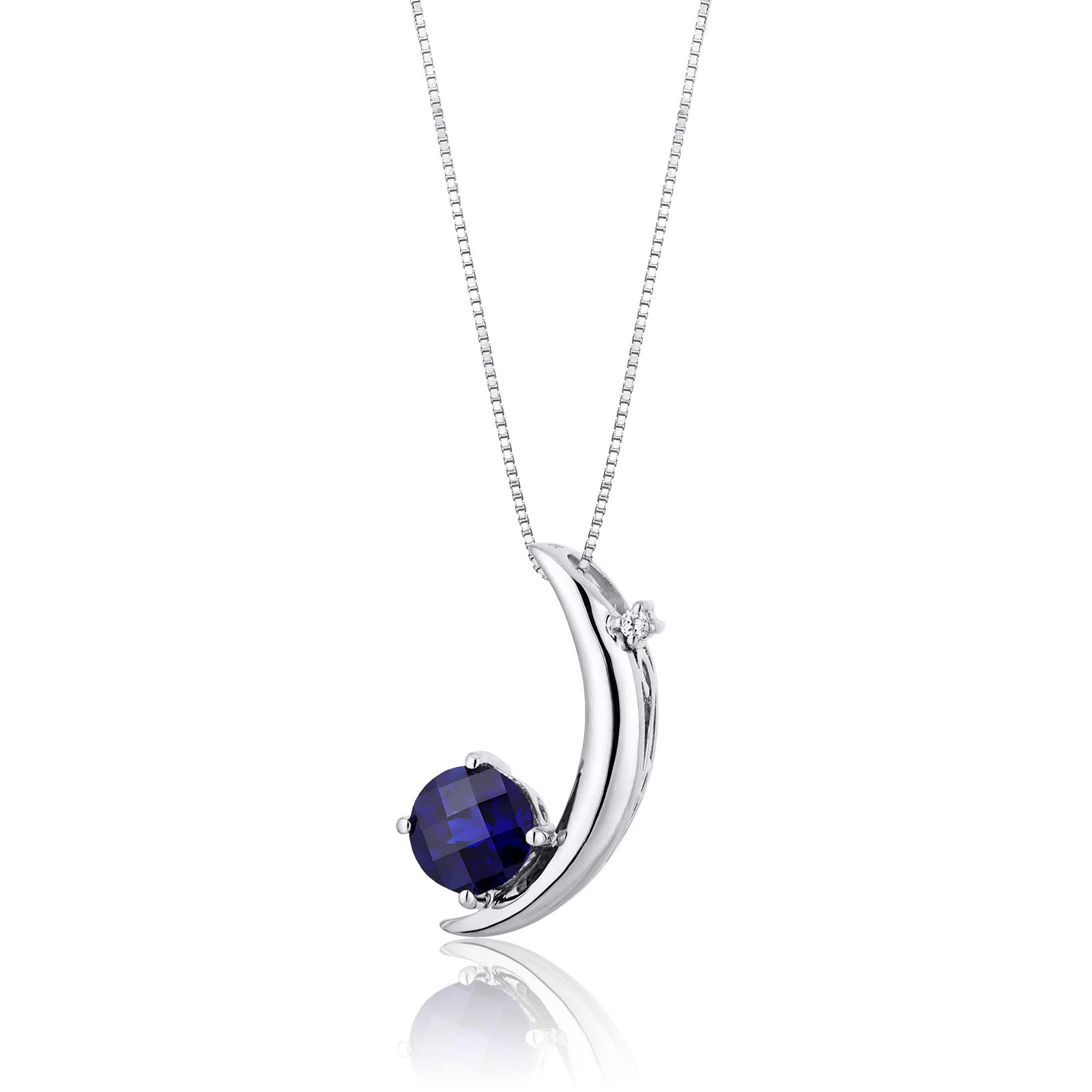 Sapphire & CZ Moon Pendant Necklace in Sterling Silver