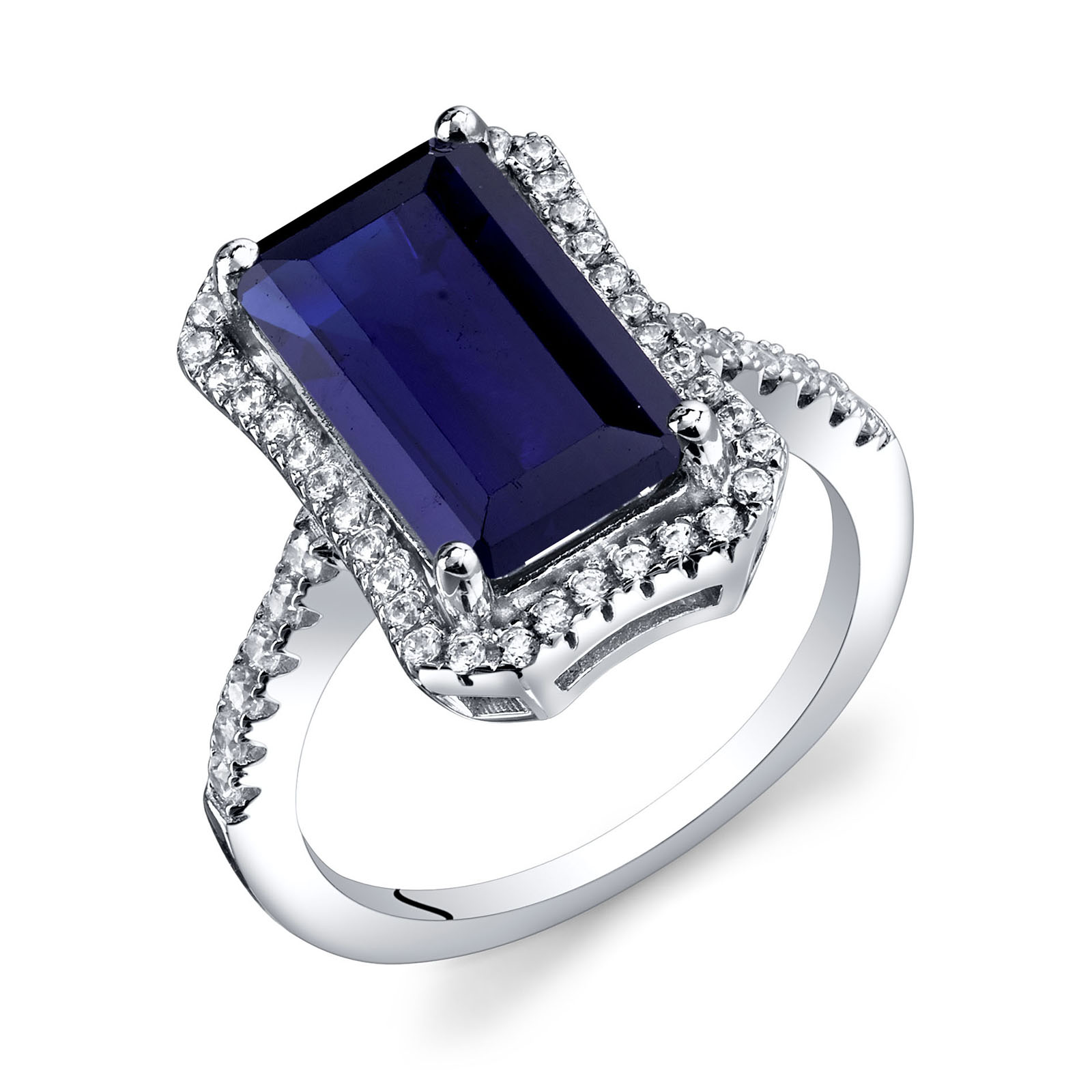 Sapphire & CZ Octagon Ring in Sterling Silver
