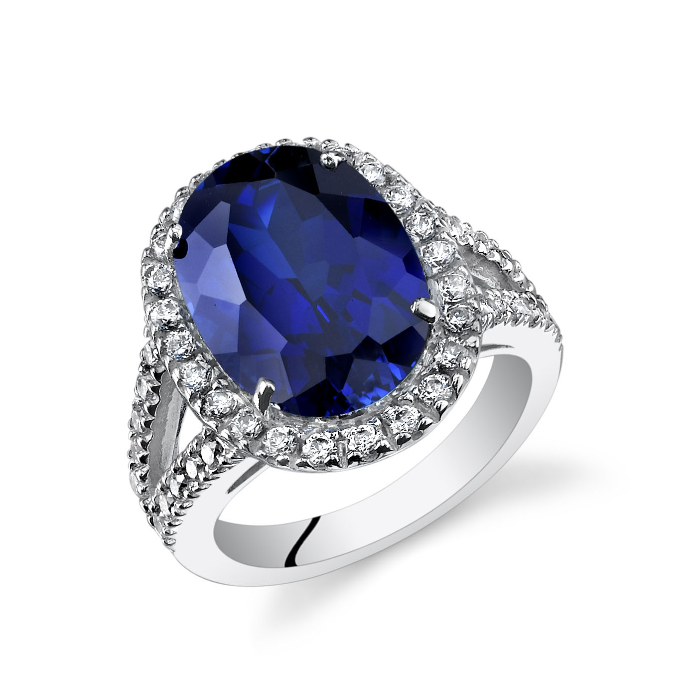 Sapphire & CZ Ring in Sterling Silver