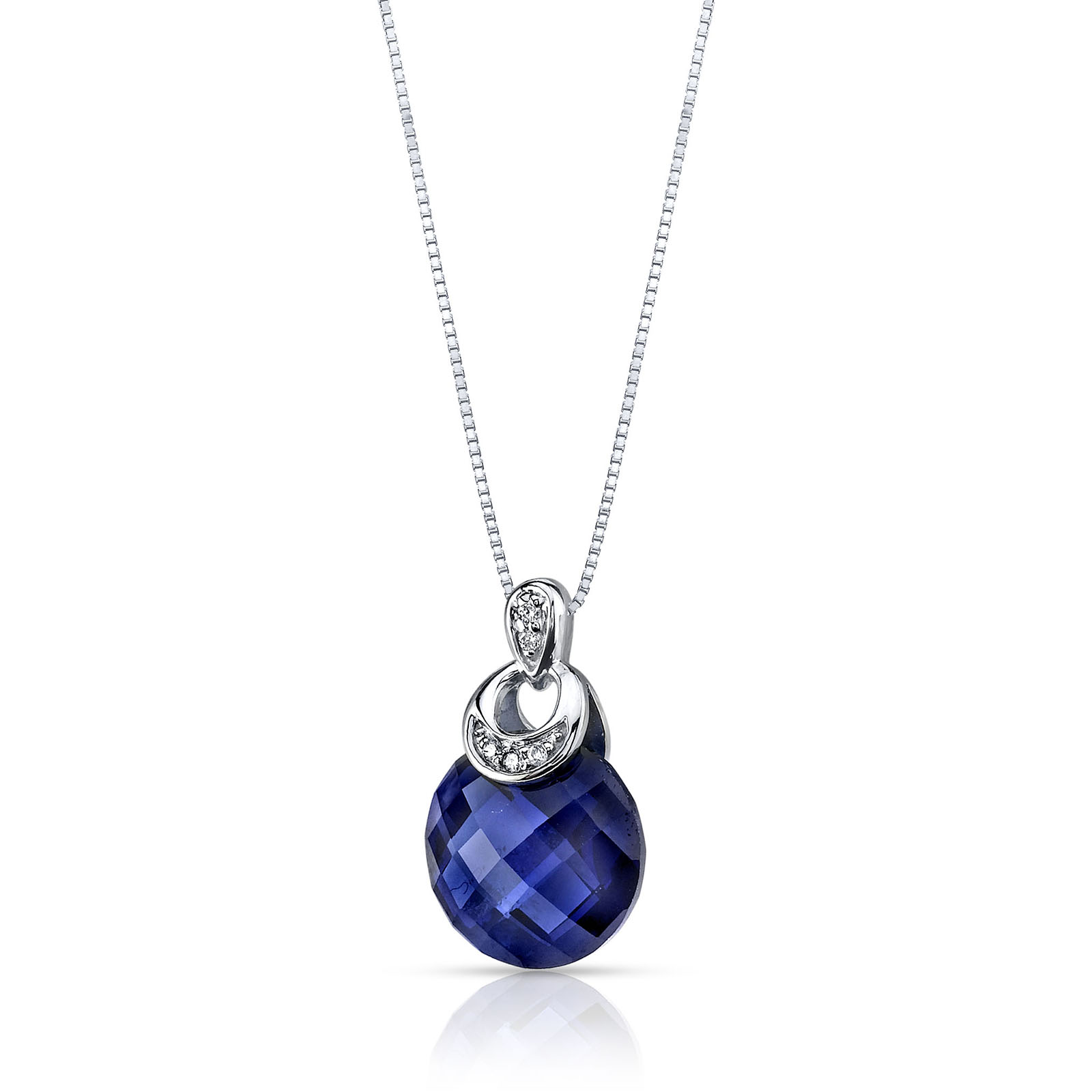 Sapphire & Diamond 9ct White Gold Pendant Necklace with Silver Chain