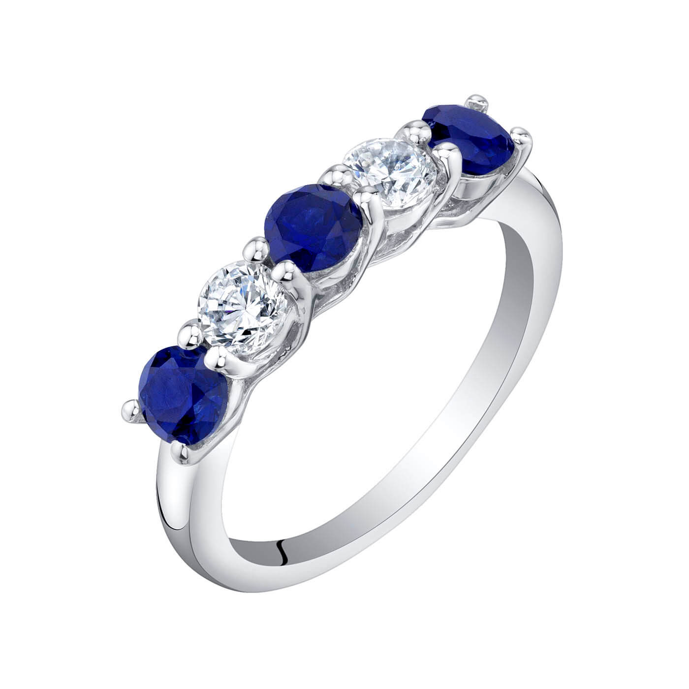 Sapphire Five Stone Wedding Ring in Sterling Silver