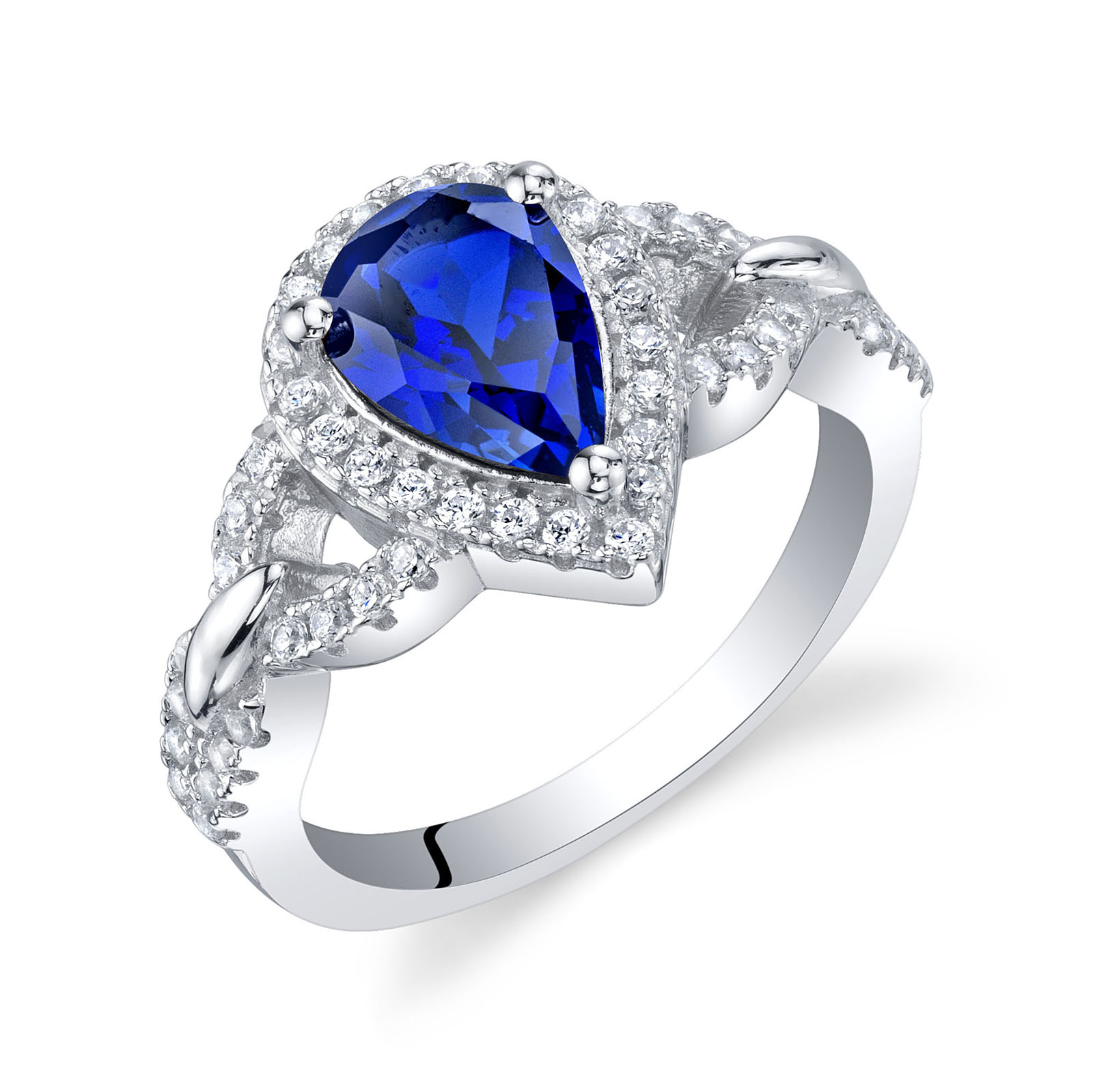 Sapphire Halo Crest Ring in Sterling Silver