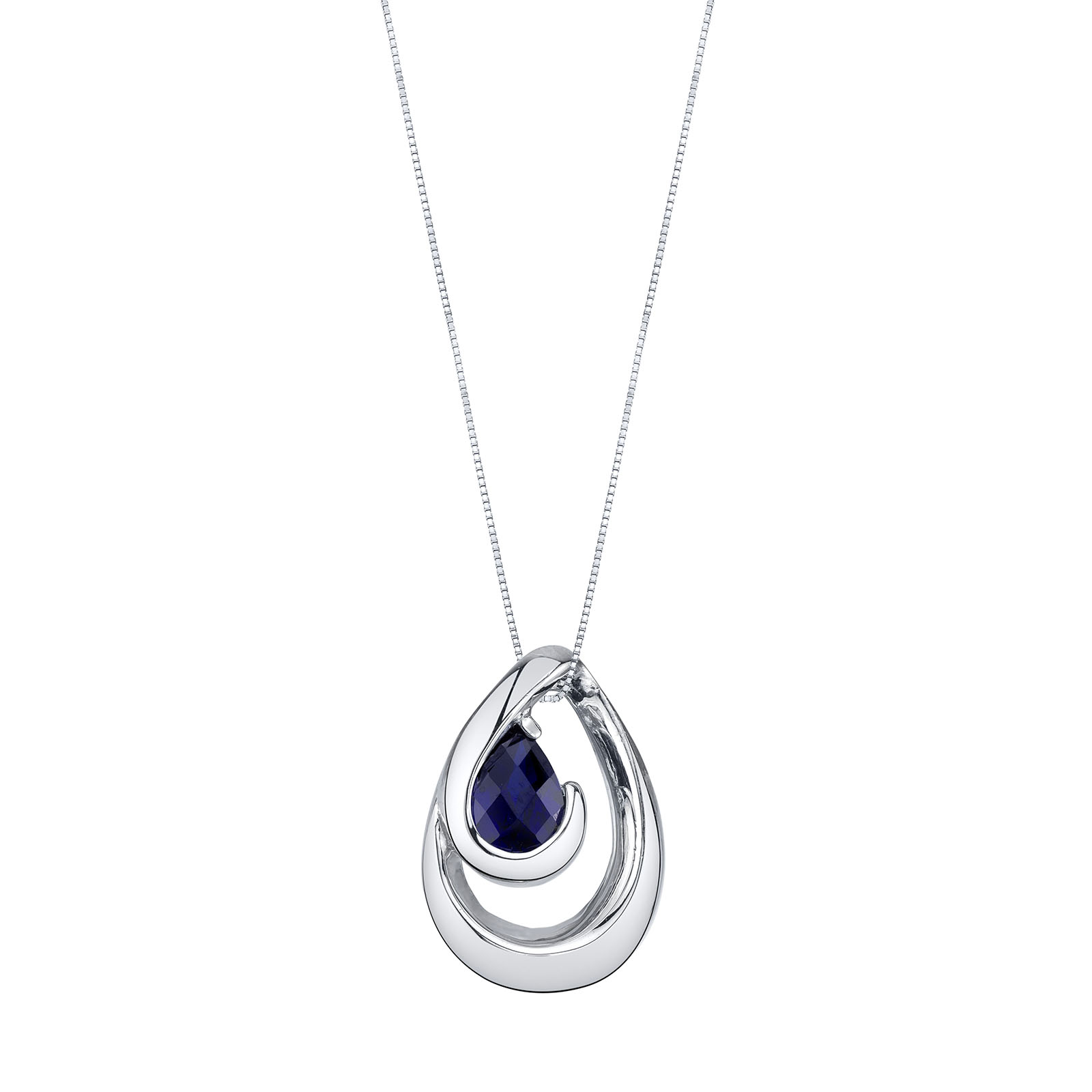 Sapphire Wave Pendant Necklace in Sterling Silver